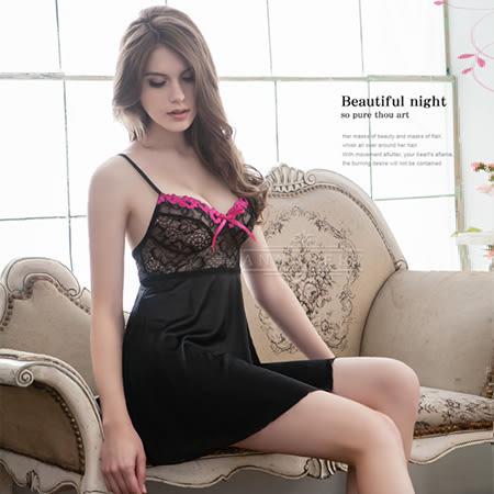 大尺碼Annabery黑系誘惑柔緞面二件式睡衣 推薦 緞面睡衣《生活美學》