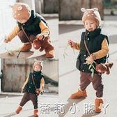 兒童毛線帽寶寶兔耳朵新生嬰兒套頭帽秋冬圓點加絨加厚針織帽保暖 蘿莉小腳ㄚ