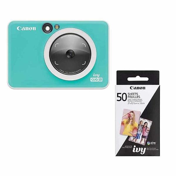 Canon IVY CLIQ 2相片印表機 50張相片貼紙 Instant Camera Printer 深灰/綠/粉 [2美國直購]