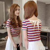 2020夏裝新款韓版露背蝴蝶結綁帶修身條紋心機t恤女小眾短袖上衣 PA15724『美好时光』
