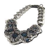 PRADA 普拉達 藍白雙色水晶復古銀色項鍊Line Stone Necklace 【二手名牌BRAND OFF】