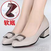 單鞋 春季新款媽媽鞋真皮軟底女士皮鞋中跟舒適中年單鞋韓版百搭秋    coco衣巷