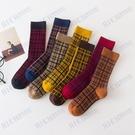 加厚秋冬中筒襪英倫復古風堆堆襪撞色格子長筒雙針日系襪子