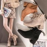 馬丁靴女2019秋冬款粗跟短靴切爾西瘦瘦短筒高跟鞋冬季踝靴子 LR12783【Sweet家居】