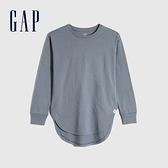 Gap女童 棉質舒適亮色圓領長袖T恤 661671-灰色