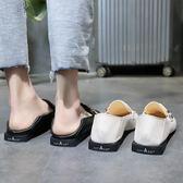 韓版方頭低跟單鞋女春季2019新款港風粗跟樂福鞋懶人兩穿小皮鞋女