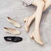 高跟鞋 新款夏季仙女復古中跟粗跟百搭簡約ins奶奶鞋高跟鞋軟皮單鞋 中秋節