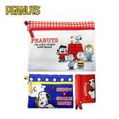 A款【日本正版】史努比 收納包 三件組 收納袋 卡片包 零錢包 Snoopy PEANUTS - 008530