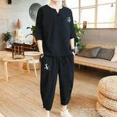 中國風亞麻短袖套裝 男士2019新款棉麻寬鬆上衣T恤休閒帥氣兩件套 依凡卡時尚