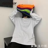 長袖T恤 INS純棉20韓國ins復古基礎款純色秋季打底衫內搭男女長袖T恤bf風 歐歐