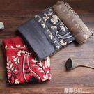 春秋季女 民族風純色繡花金線腰果棉麻圍巾披肩兩用百搭出游   露露日記