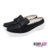 女鞋 穆勒鞋 氣墊鞋 拖鞋 翻轉蜜糖真皮磁石內增高氣墊球囊穆勒鞋-MIT手工鞋(經典黑)Normlady諾蕾蒂