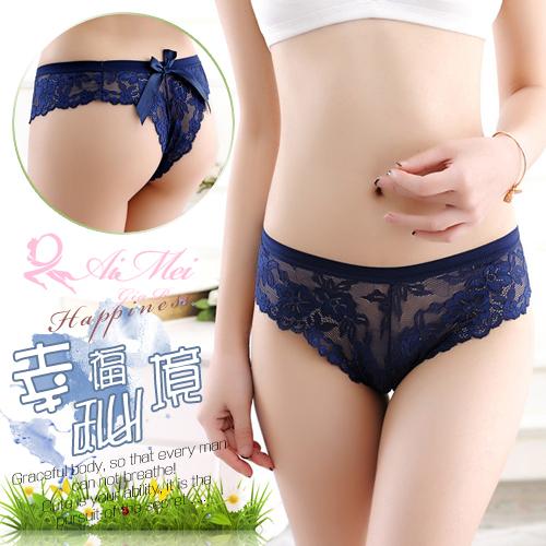 情趣內褲  大蝴蝶結蕾絲花邊丁字褲 深藍    538058