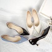 尖頭單鞋中跟3-5cm貓跟女鞋子高跟鞋漆皮側空百搭性感OL單根鞋秋  解憂雜貨鋪