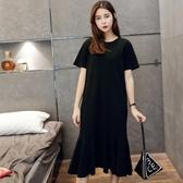 初心 長裙 【D4920】 短袖 純色 魚尾裙 長洋裝 魚尾 長裙