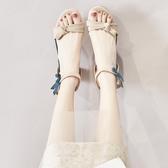 高跟涼鞋女夏季韓版百搭蝴蝶結粗跟仙女風羅馬鞋涼鞋