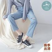 男友褲 韓國空運!微刷白鬚邊破洞直筒牛仔褲S-L號-BAi白媽媽【309558】