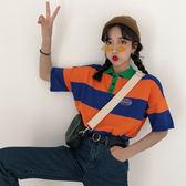 夏季韓版ulzzang寬鬆學生原宿bf百搭字母刺繡條紋polo衫短袖T恤女  檸檬衣舍