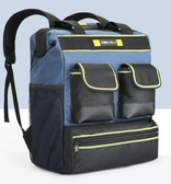 雙肩工具包 多功能電工工具包 帆布大加厚維修安裝工具袋收納背包 深藏blue