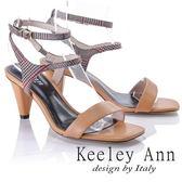 ★2018春夏★Keeley Ann摩登時尚~格紋雙腳踝帶真皮軟墊高跟涼鞋(棕色)-Ann系列