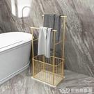 輕奢簡易大理石浴室毛巾架免打孔衛生間收納架落地北歐廁所置物架 NMS樂事館新品