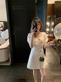 方領洋裝 小個子連身裙女夏季2021新款溫柔風不對稱襯衫裙收腰顯瘦法式裙子 夏季新品