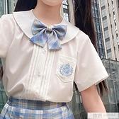 女童風琴褶白色襯衫短袖JK制服洋氣時髦夏裝兒童上衣夏季薄款12歲 夏季新品
