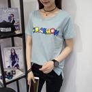 *魔法之城*F14601夏寬鬆韓版印花學...