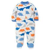 美國Little me童裝 新生兒 男寶寶 長袖 刷毛兔裝 藍恐龍【LILS605808N】