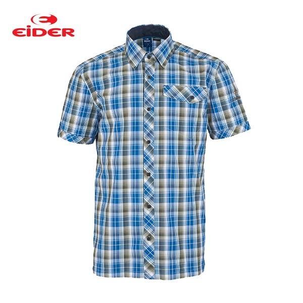 [EiDER] 男排汗透氣抗UV短袖襯衫 - 藍格 (6EIV3073)
