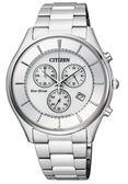 CITIZEN 星辰GENT'S 復古紳士品味光動能計時腕錶-銀AT2360-59A