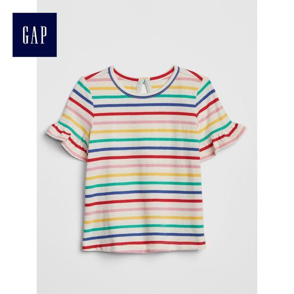 Gap女嬰兒 活力印花荷葉邊圓領短袖T恤 441257-彩色條紋