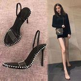 2018新款夏涼拖鞋金屬珠子一字帶透明魚嘴黑色細跟高跟涼鞋女  檸檬衣舍
