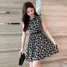 無袖洋裝 小個子無袖碎花連身裙女2021年夏季仙女裙短款修身顯瘦氣質小黑裙寶貝計畫 上新