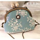 森系小包珍珠創意民族旗袍小包包單肩斜挎