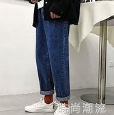 寬管褲韓版潮流牛仔褲chic春季寬鬆休閒男士bf九分直筒褲子 時尚潮流