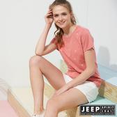 【JEEP】女裝 滿版造型印花短袖TEE-粉