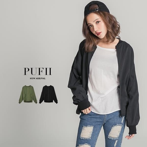 PUFII-外套 假口袋造型蜜桃絨拉鍊棒球外套飛行外套 2色- 0830 秋【CP13244】
