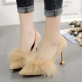 高跟鞋細跟女帶毛毛單鞋春季2019新款百搭韓版絨面尖頭性感時裝鞋