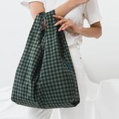 美國 BAGGU 設計口袋購物包 暖格格-綠色-M