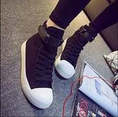 增高鞋 高幫帆布鞋女秋冬百搭黑色平底布鞋學生休閒板鞋潮內增高