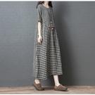 棉麻洋裝 韓日系 夏季大碼寬鬆不规则拼接格子連身長裙 花漾小姐【預購】