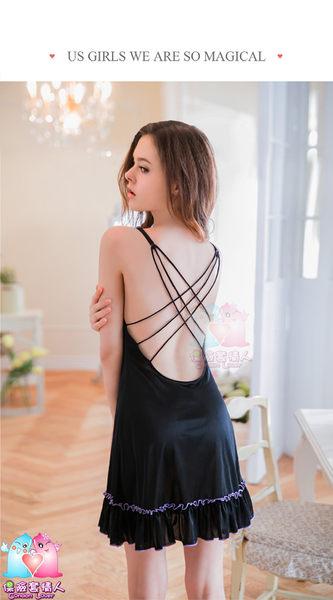 【愛愛雲端】性感睡衣 情趣用品  大尺碼 網紗刺繡!黑色柔緞 美背睡衣 NY16020059