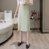 長裙 中長裙 2021春裝百搭顯瘦中長款開叉西裝包臀裙職業修身長裙一步裙子 5127大量 依Baby
