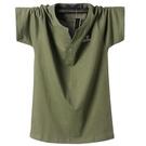 夏季新品加肥加大號短袖T恤男特中大尺碼全棉半袖胖子休閒寬鬆體恤衫
