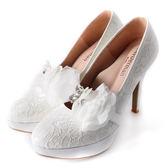 Clay Derman   綻放幸福可拆式紗鑽花飾踝戴婚鞋~白