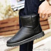 靴子 冬季雪地靴男加絨棉靴短筒男靴皮面防滑防水保暖加厚男士棉鞋 瑪麗蓮安