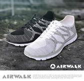 【AIRWALK】幾何線條編織慢跑鞋-白(男)