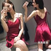 洋裝連身裙2018夏季女裝v領低胸露背收腰吊帶裙女冷淡風裙子XS-XL 聖誕交換禮物