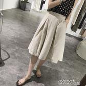 棉麻五分褲 女式夏季a字型寬鬆大碼鬆緊帶高腰顯瘦寬管褲亞麻五分褲 coco衣巷